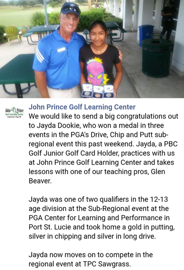 Glen Beaver with Jayda Dookie,  golf student after she medaled in three PGA events.