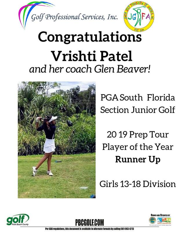 Vrishti Patel and Coach Glen Beaver recognized for their golf accomplishment
