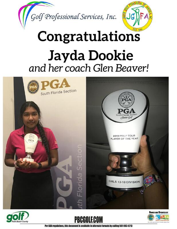 Jayda Dookie and Coach Glen Beaver recognized for their golf accomplishment